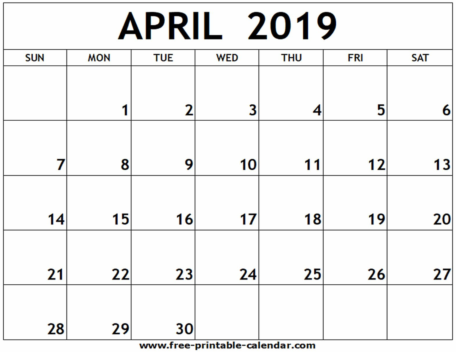 April 2019 Printable Calendar – Free Printable Calendar Calendar 2019 April Printable