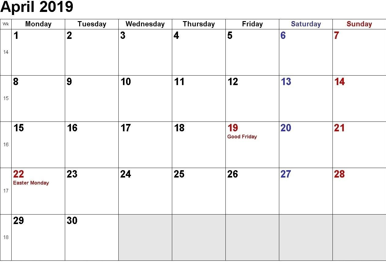 April 2019 Word Calendar Template | Monthly Templates | Holiday Calendar 2019 Word