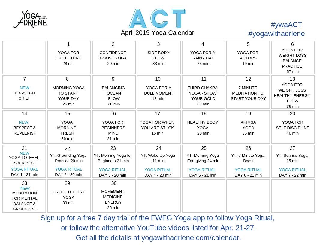 April 2019 Yoga Calendar – Act | Yoga With Adriene Calendar 2019 Yoga