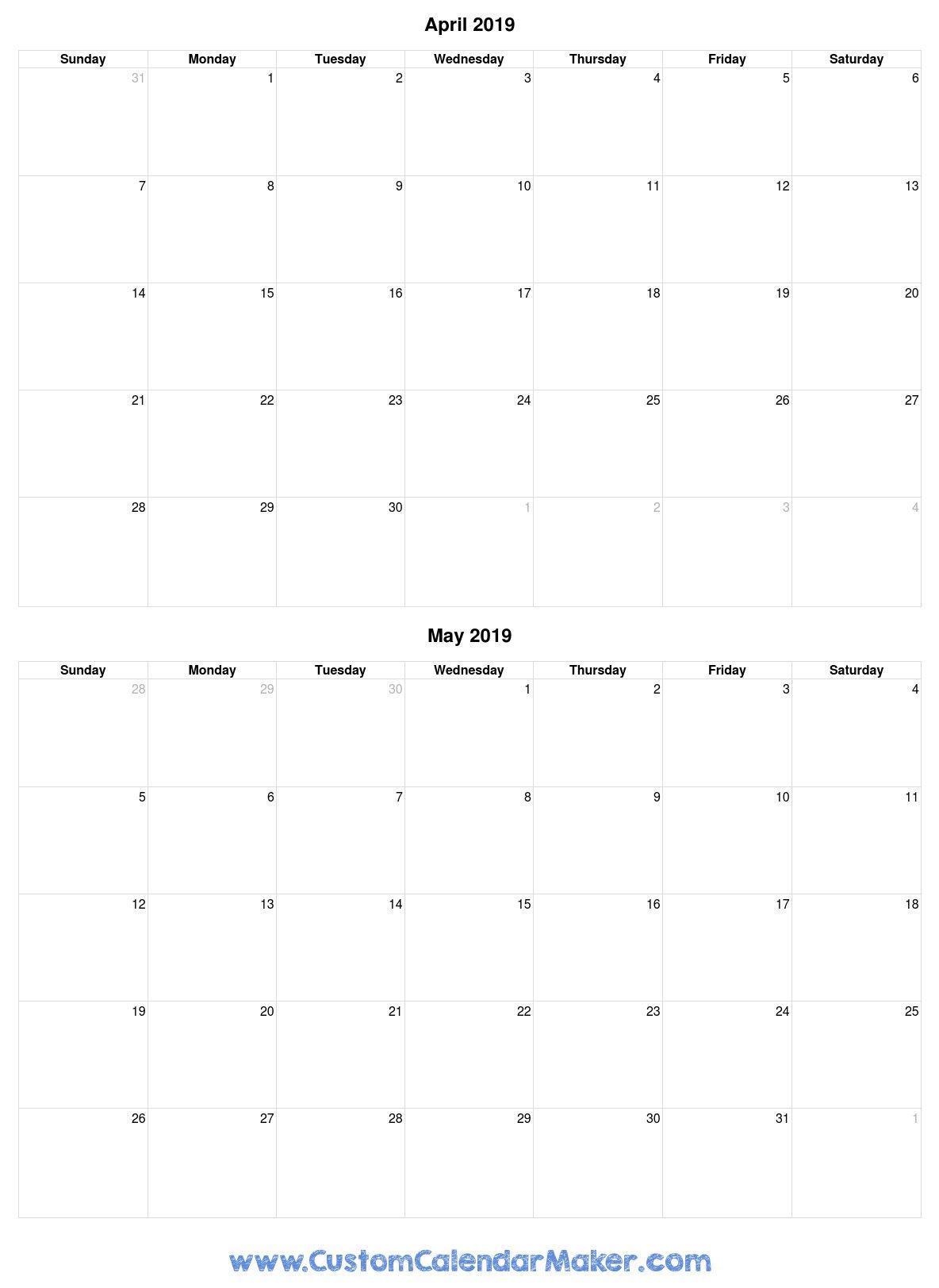 April And May 2019 Free Printable Calendar Template Calendar 2019 April May