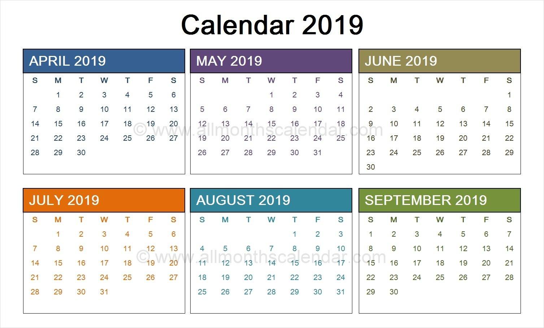 April To September 2019 Calendar Template  Calendar Templates And Design August 7 2019 Calendar