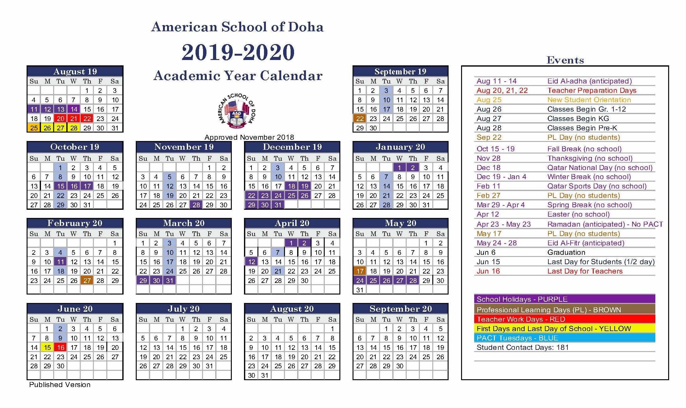 Asd Calendar 2019 2020 – American School Of Doha | International Calendar 2019 Qatar