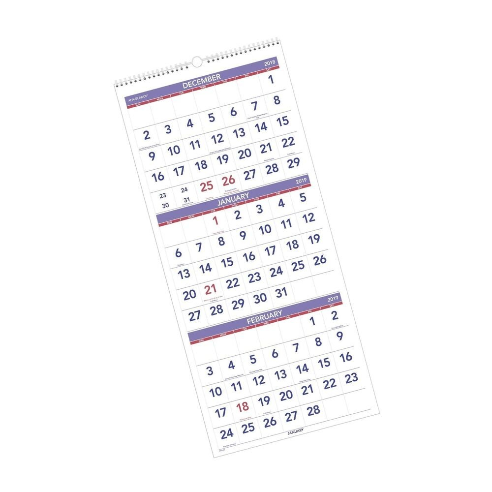 """At A Glance 2019 Wall Calendar, 3 Month Display, 12"""" X 27"""", Large 3 Month Wall Calendar 2019"""