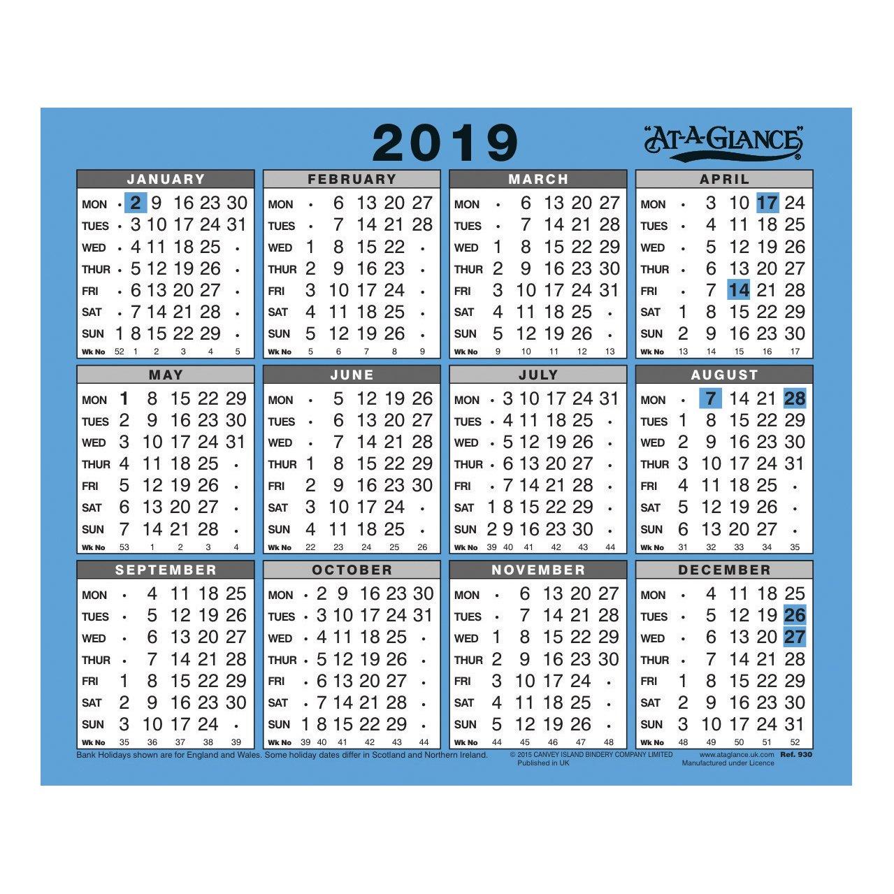 At A Glance 2019 Wall Calendar 930 | Astute Scotland Ltd Calendar 2019 Scotland