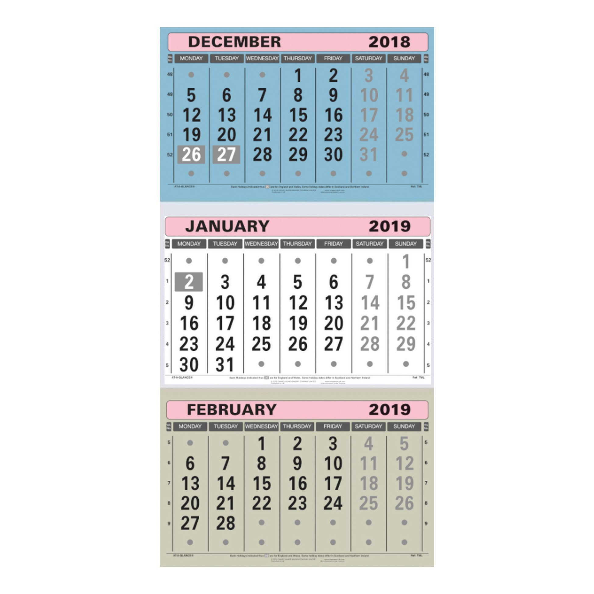 At A Glance 2019 Wall Calendar Three Months To View Board Binding 3 Month Wall Calendar 2019