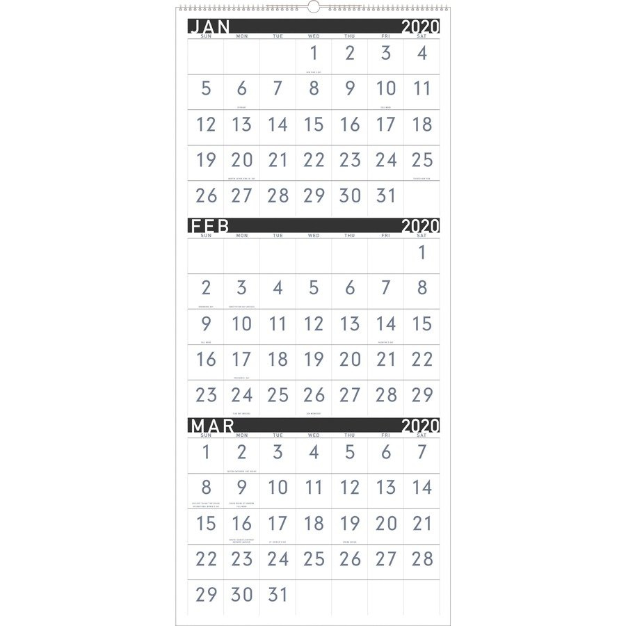 At A Glance Contemporary 3 Month Vertical Wall Calendar – Yes 3 Month Wall Calendar 2019