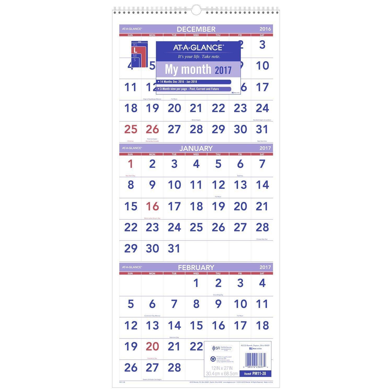 At A Glance Wall Calendar, 2018, December 2017 – January 2019, 3 3 Month Wall Calendar 2019