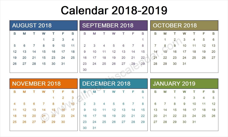 August 2018 To January 2019 Calendar Template   Calendar Design August 7 2019 Calendar