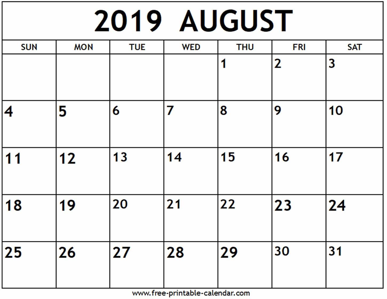 August 2019 Calendar – Free Printable Calendar Printable 2019 Calendar