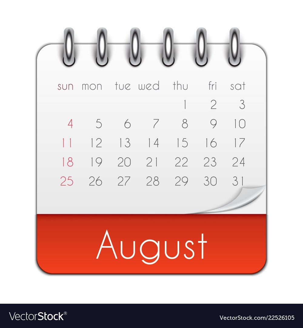 August 2019 Calendar Leaf Template Royalty Free Vector Image August 9 2019 Calendar