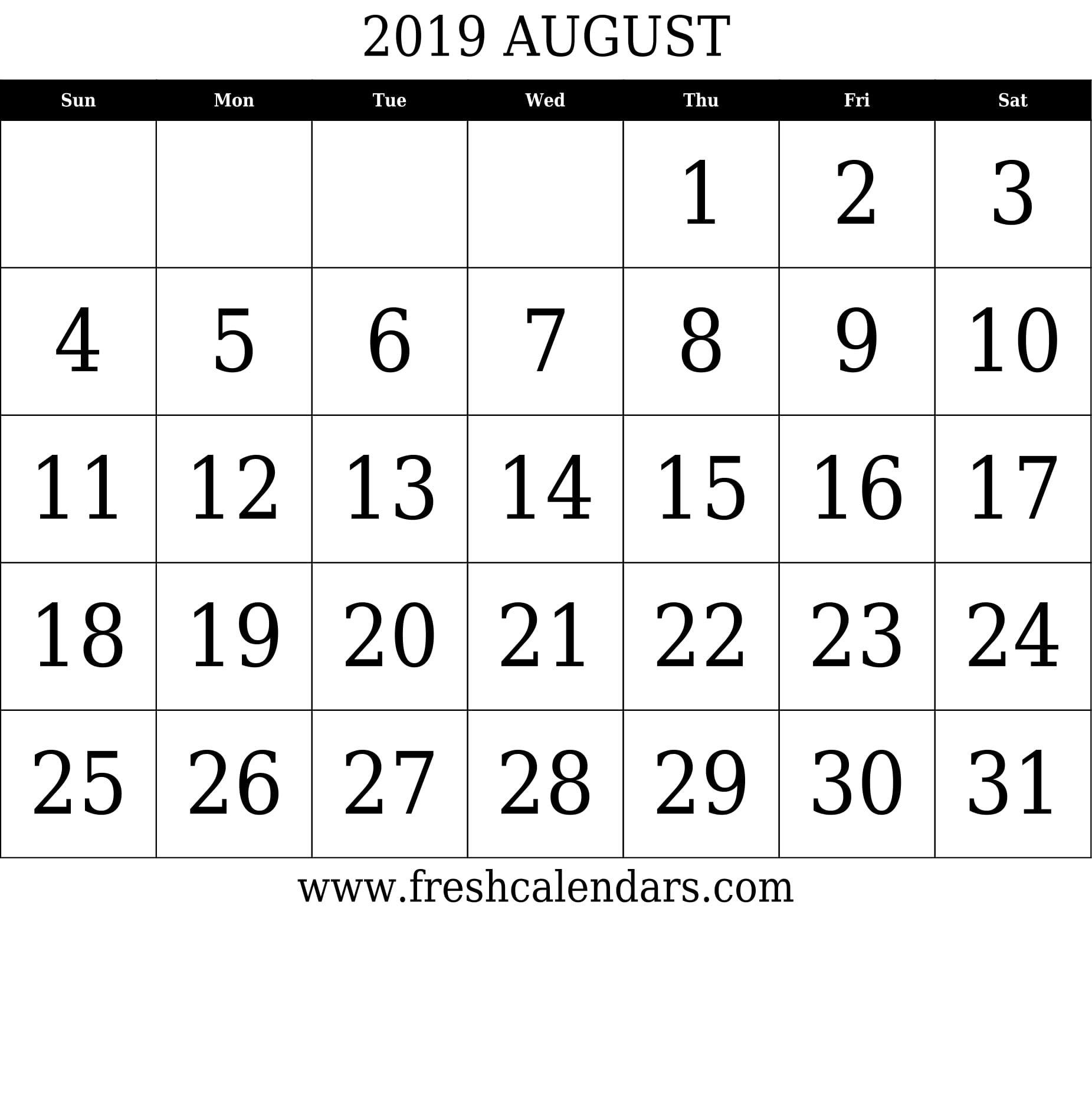 August 2019 Calendar Printable – Fresh Calendars August 3 2019 Calendar