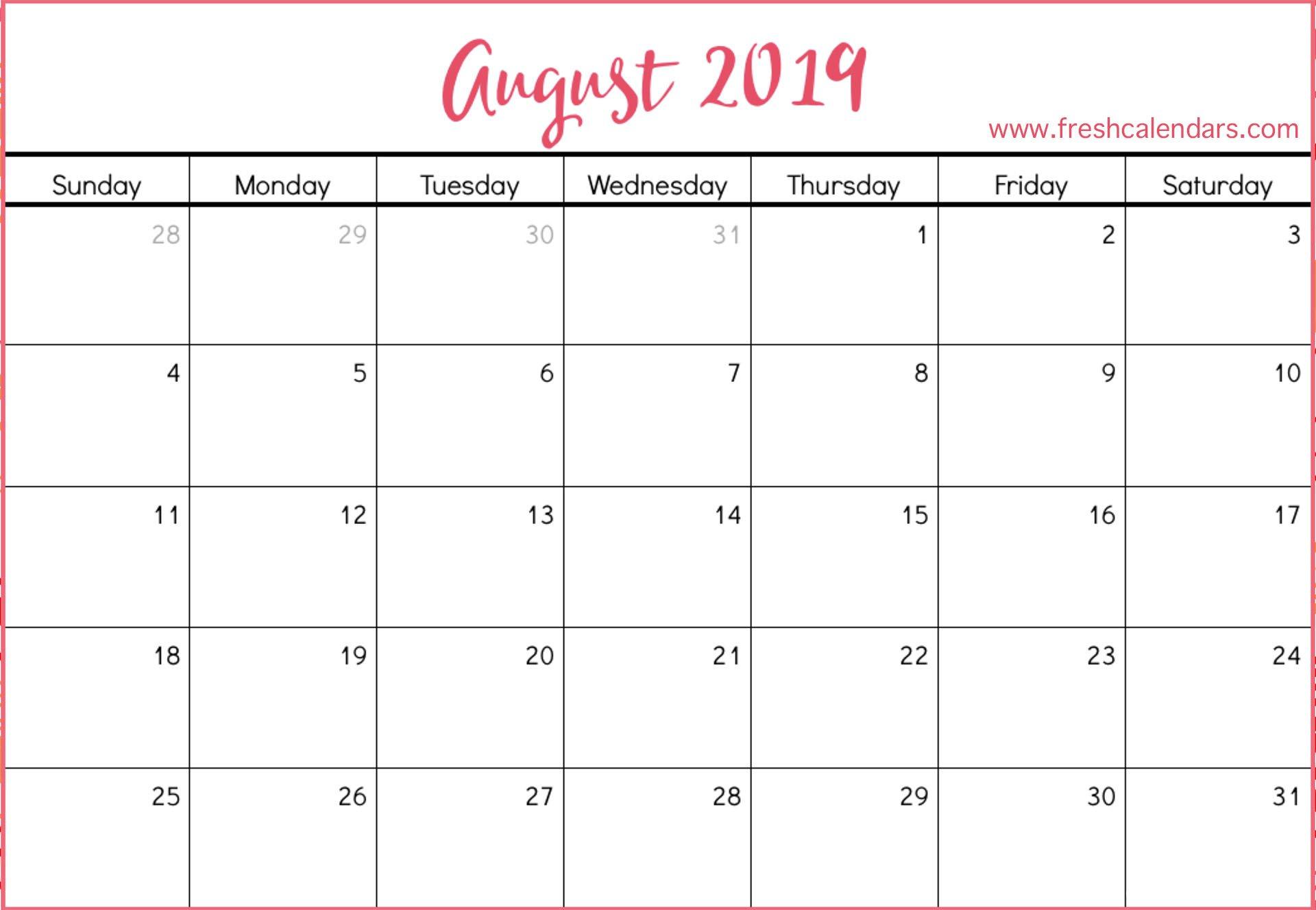 August 2019 Calendar Printable – Fresh Calendars Calendar 2019 August