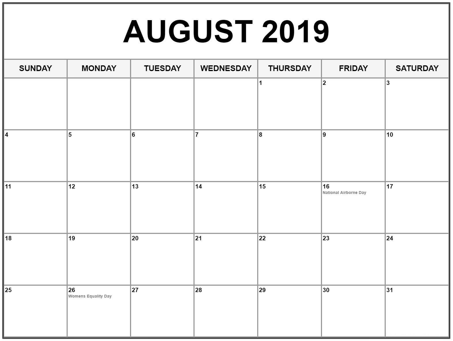 August 2019 Calendar With Holidays Usa, Canada | August 2019 Calendar 2019 August