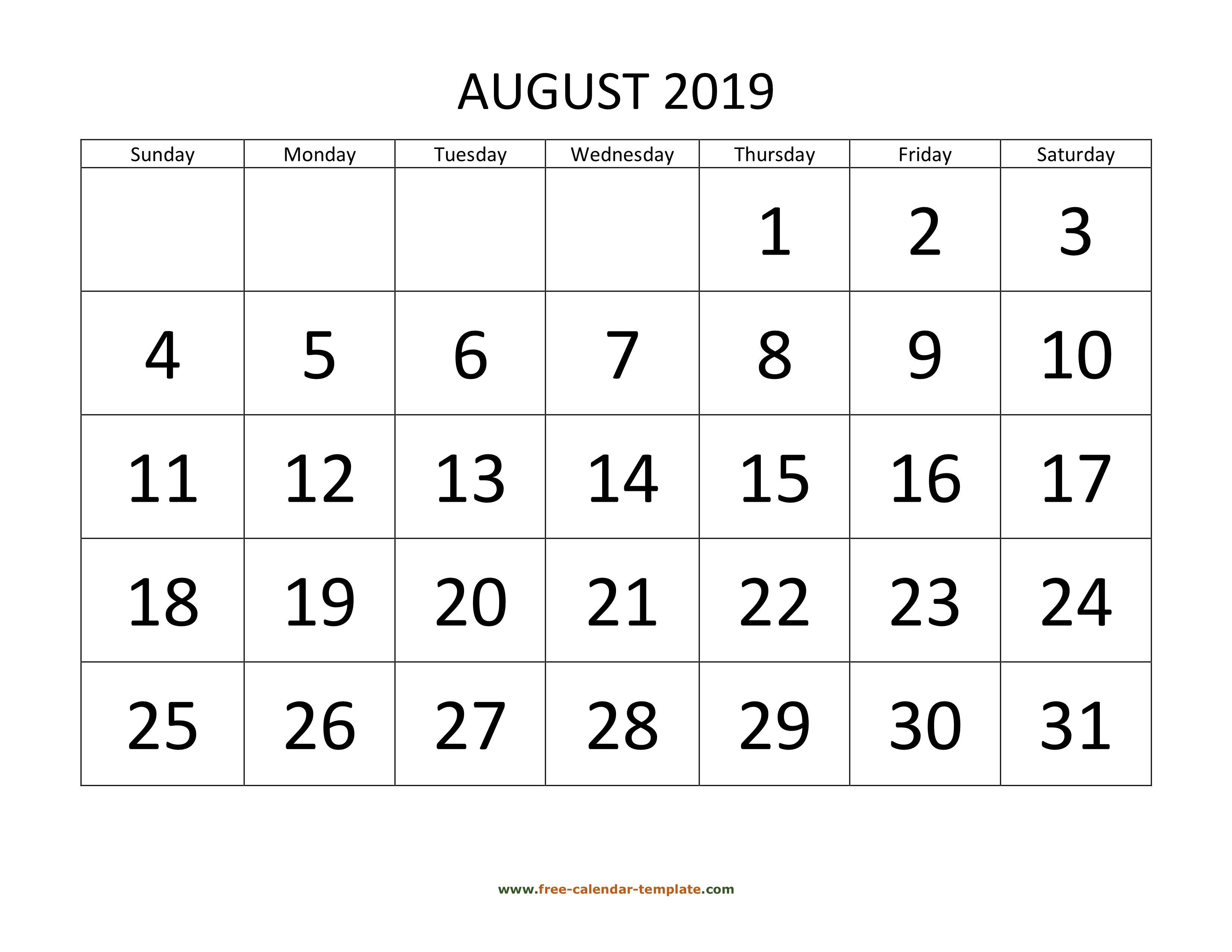 August 2019 Free Calendar Tempplate   Free Calendar Template August 1 2019 Calendar
