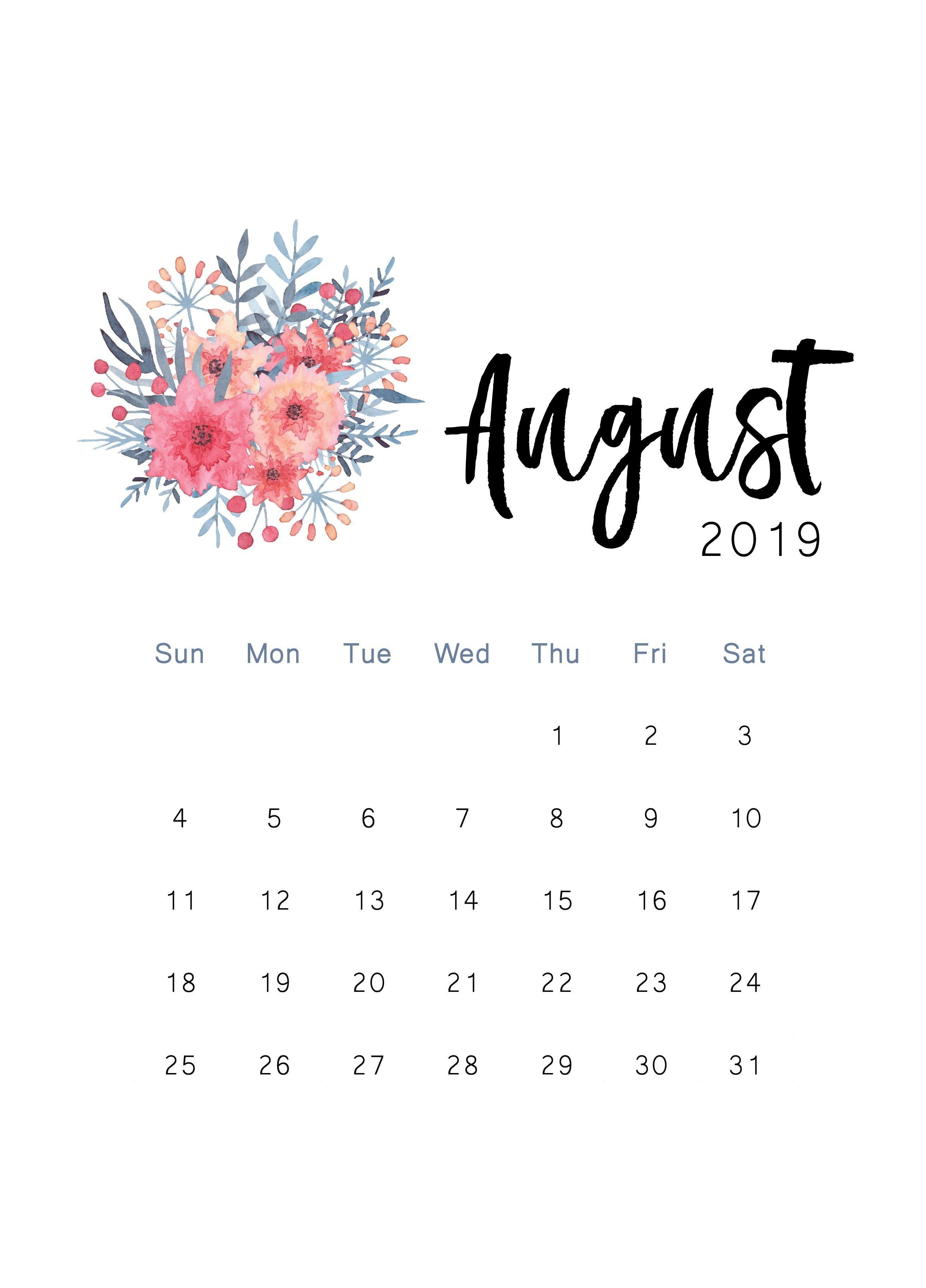 August 2019 Printable Calendar   The Cactus Creative   Print August 7 2019 Calendar