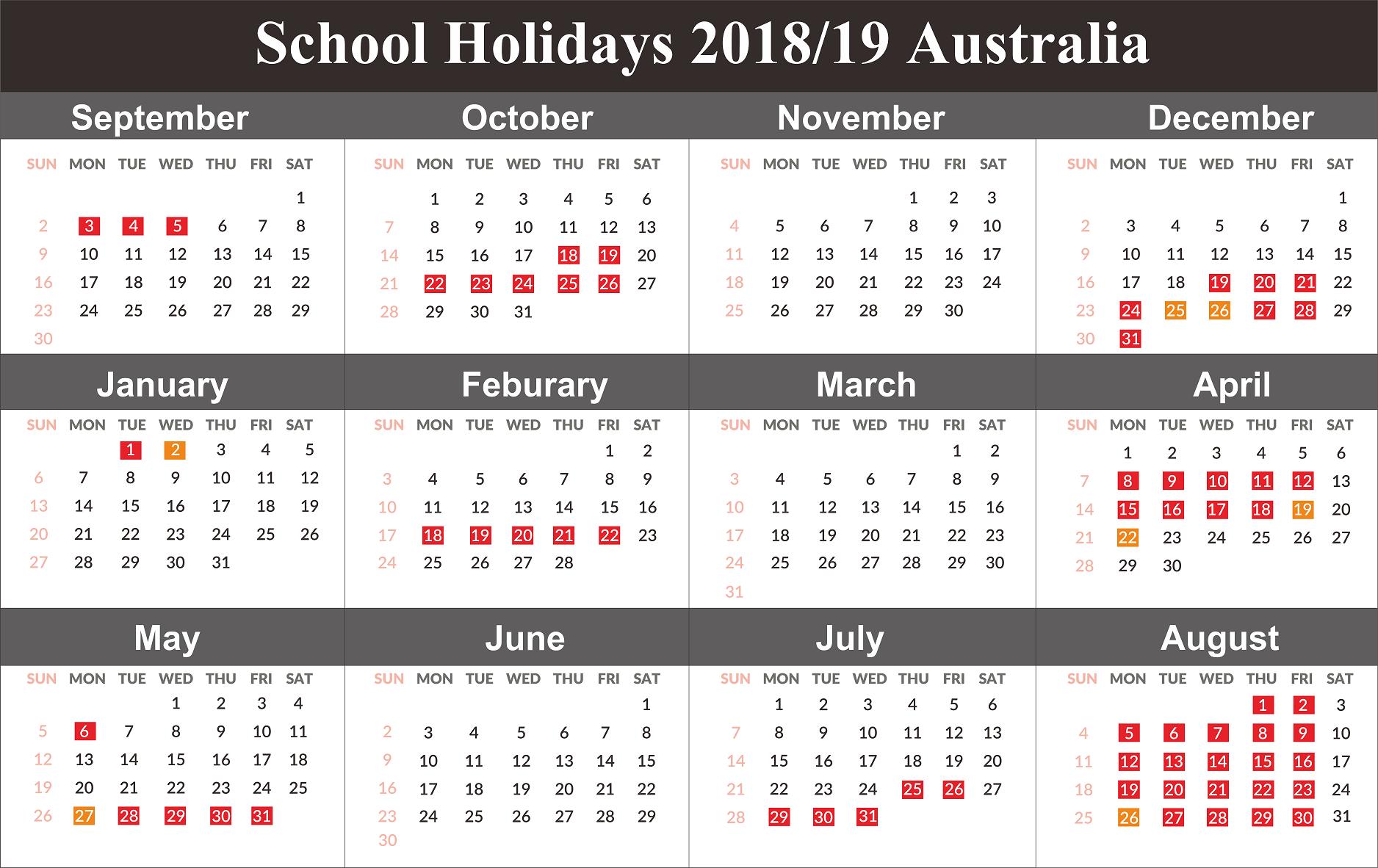 Australia 2019 School Holidays Calendar   2019 Calendars   Holiday Calendar 2019 Victoria