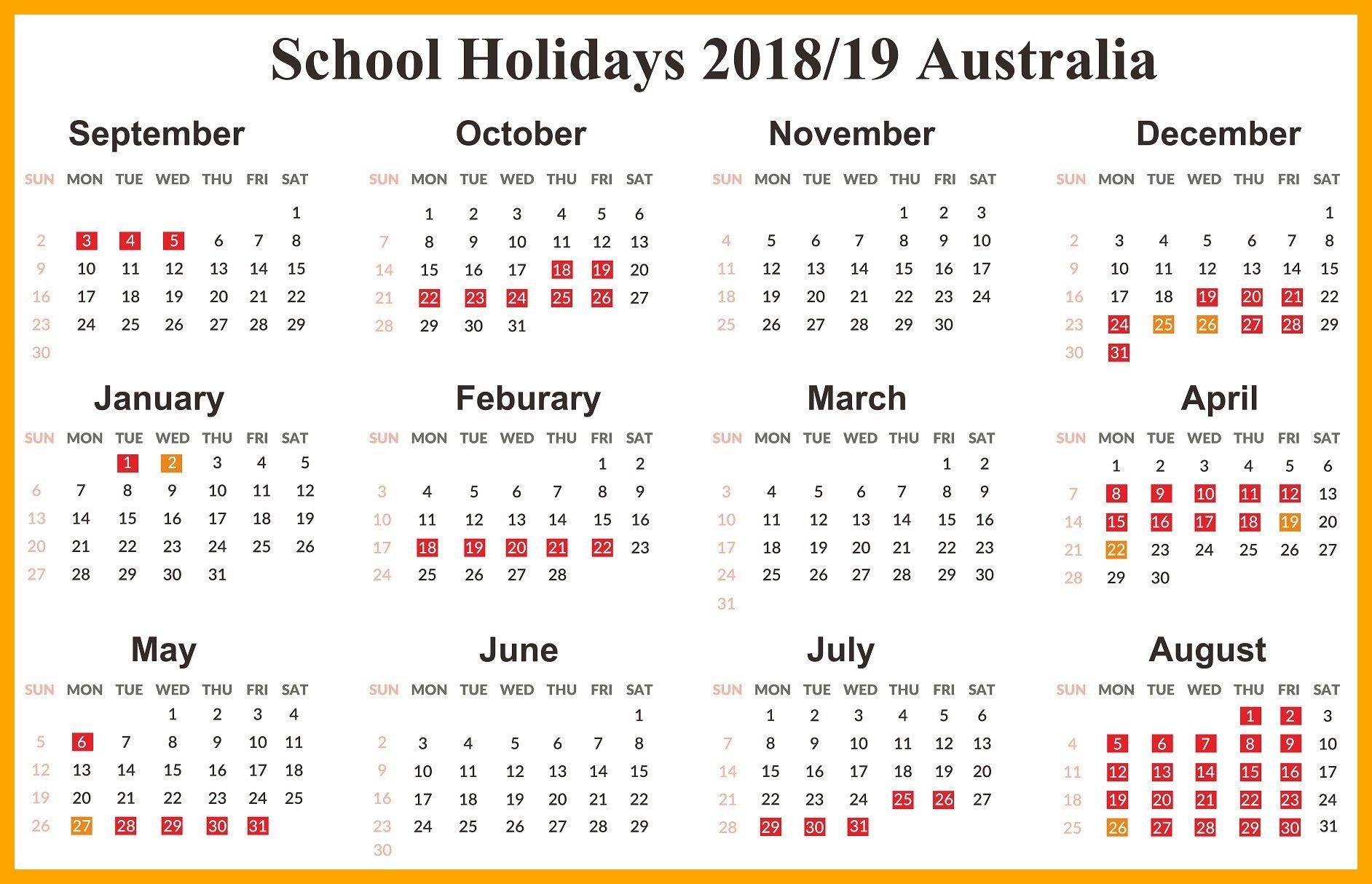 Australia 2019 School Holidays Calendar | 2019 Calendars | School S A School Calendar 2019
