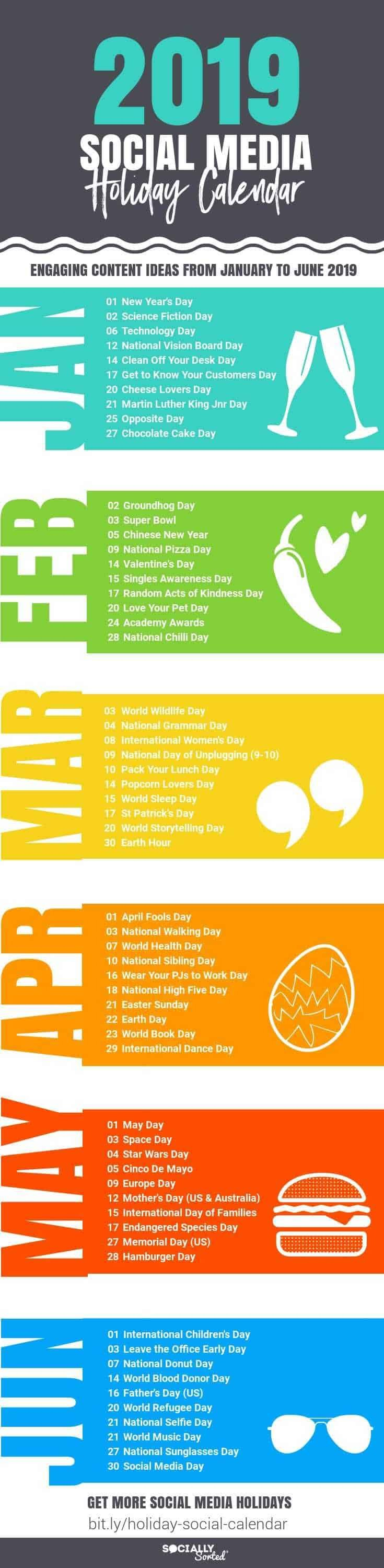 Awesome Social Media Content Calendar For 2019 Holidays [Infographic Calendar 2019 Martin Luther King