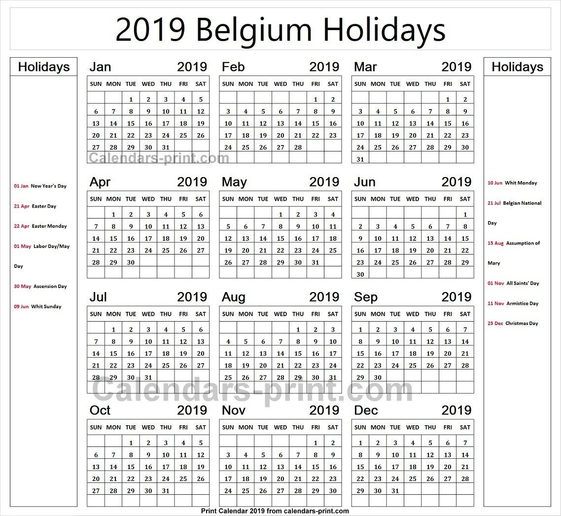 Belgium 2019 Calendar With Holidays Calendar   2019 Belgium Calendar Calendar 2019 Belgium