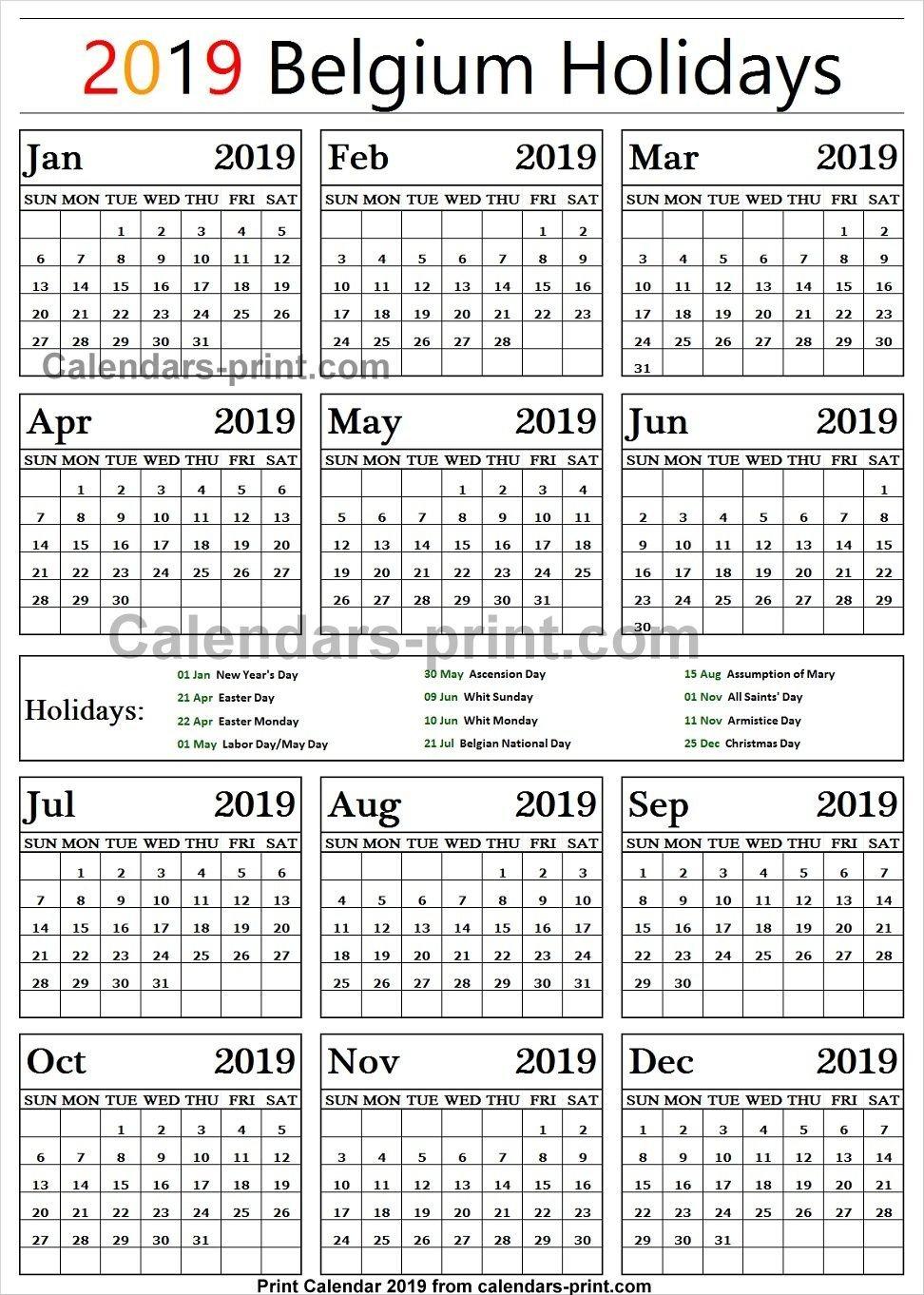 Belgium 2019 Calendar With Holidays   Holidays Calendar 2019 Calendar 2019 Belgium