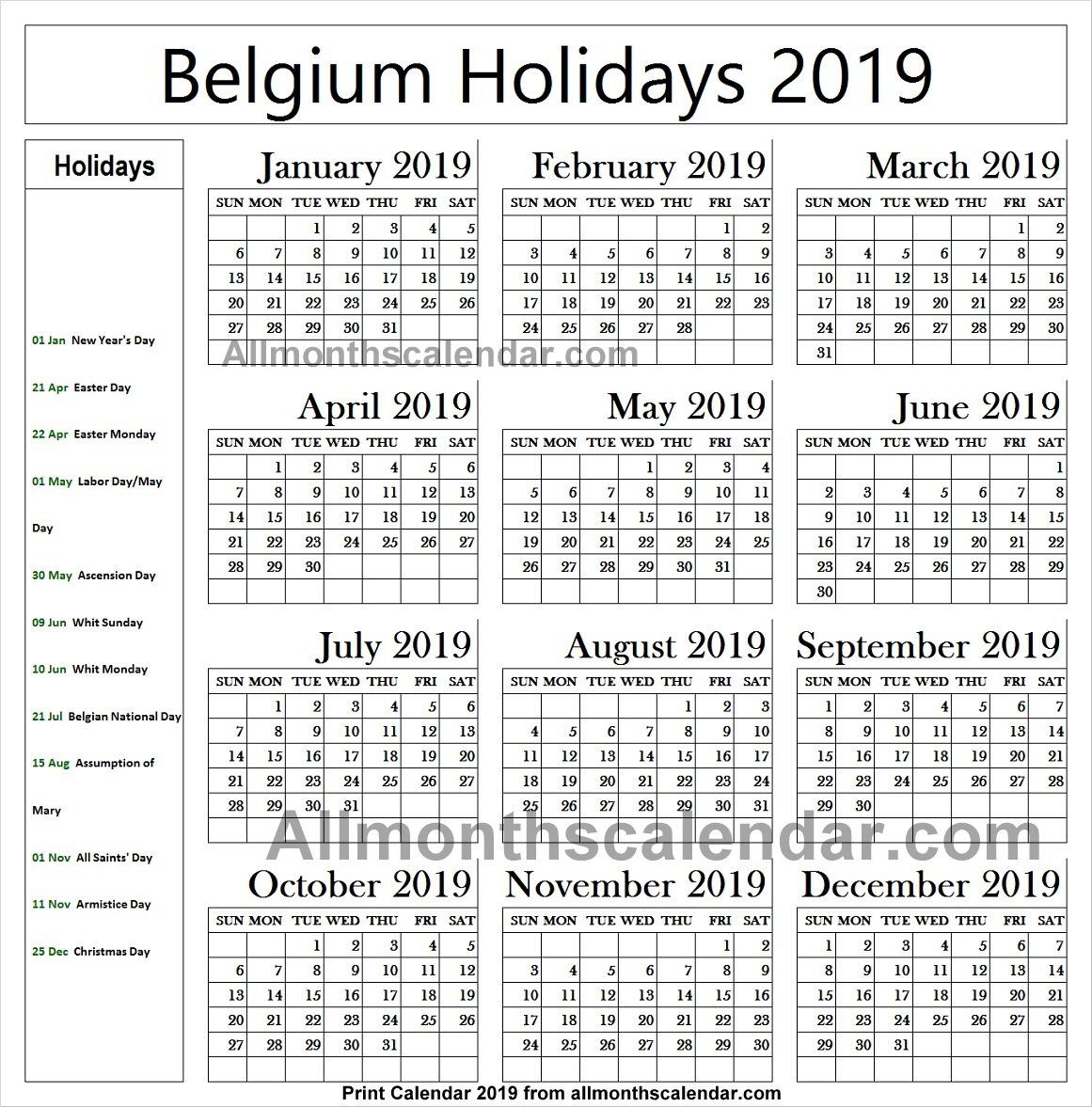 Belgium Holiday List 2019 Calendar   2019 Belgium Calendar Calendar 2019 Belgium