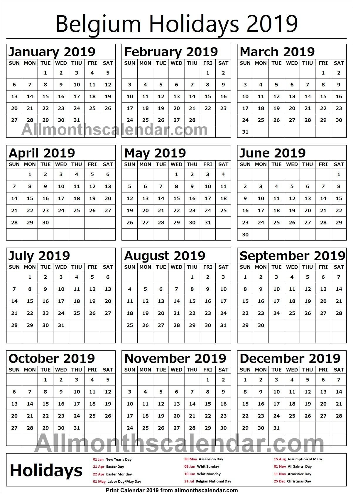 Belgium Holiday List 2019   Holidays Calendar 2019 In 2019   Holiday Calendar 2019 Belgium