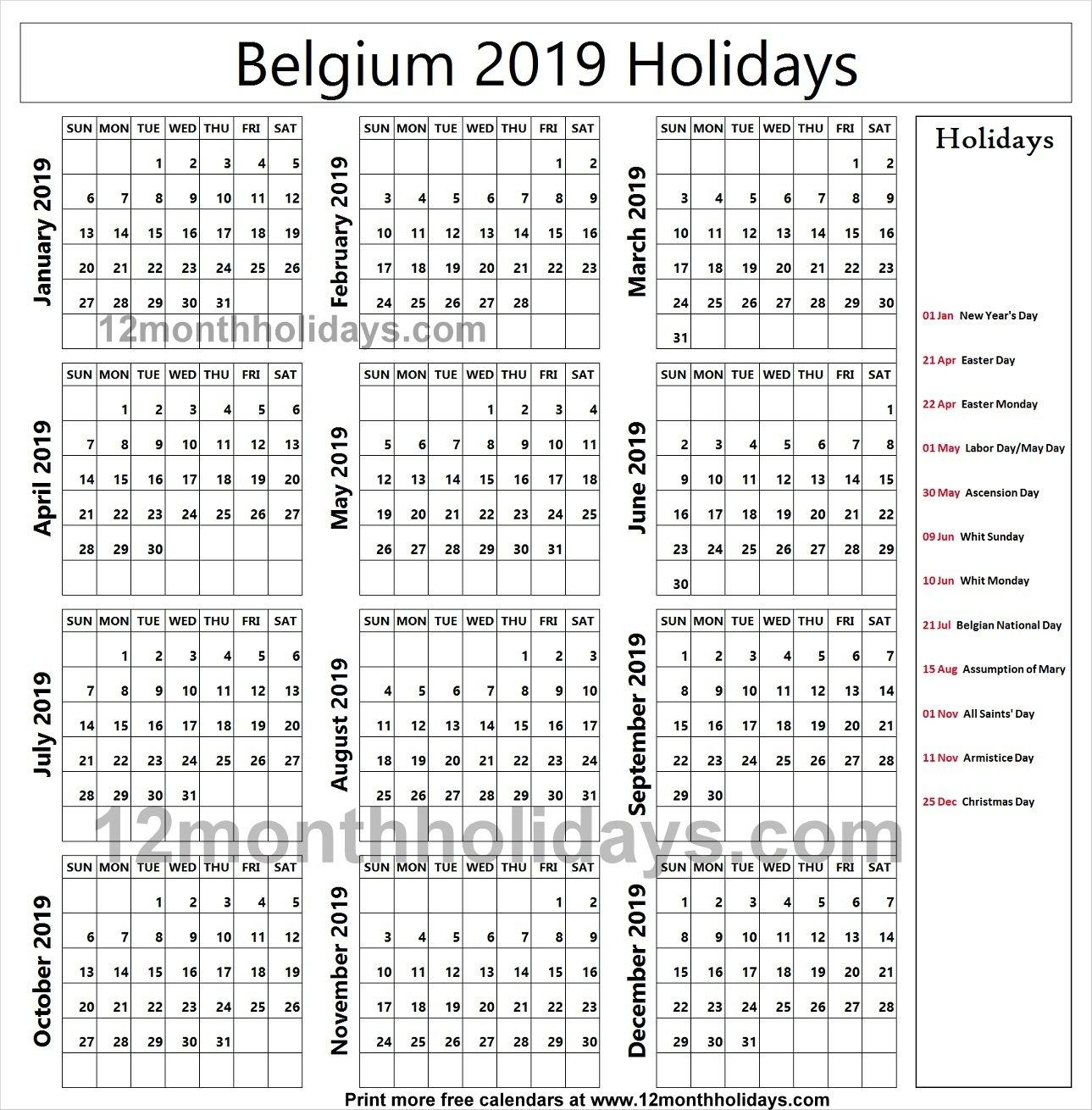 Belgium School Holidays 2019 Calendar   2019 Belgium Calendar Calendar 2019 Belgium