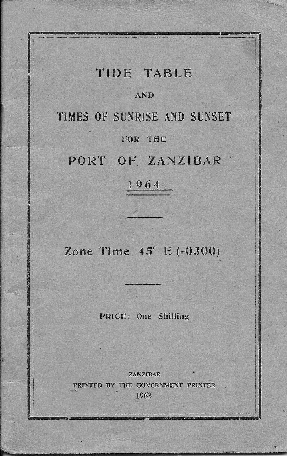 Benitos Adventure Stories   Zanzibar Benito's Dream Tide Calendar 2019 Zanzibar
