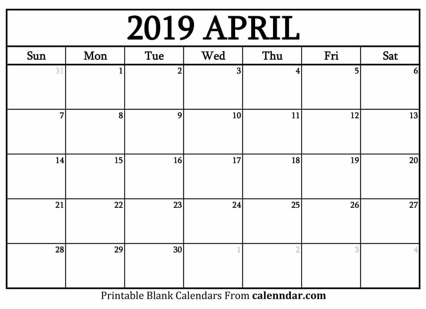 Blank April 2019 Printable Calendar – Printable Calendar 2019| Blank Calendar 2019 April Printable