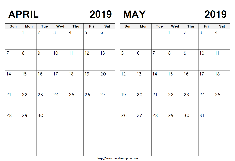 Blank April May 2019 Calendar Template   Printable 2 Month Calendar Calendar 2019 April May