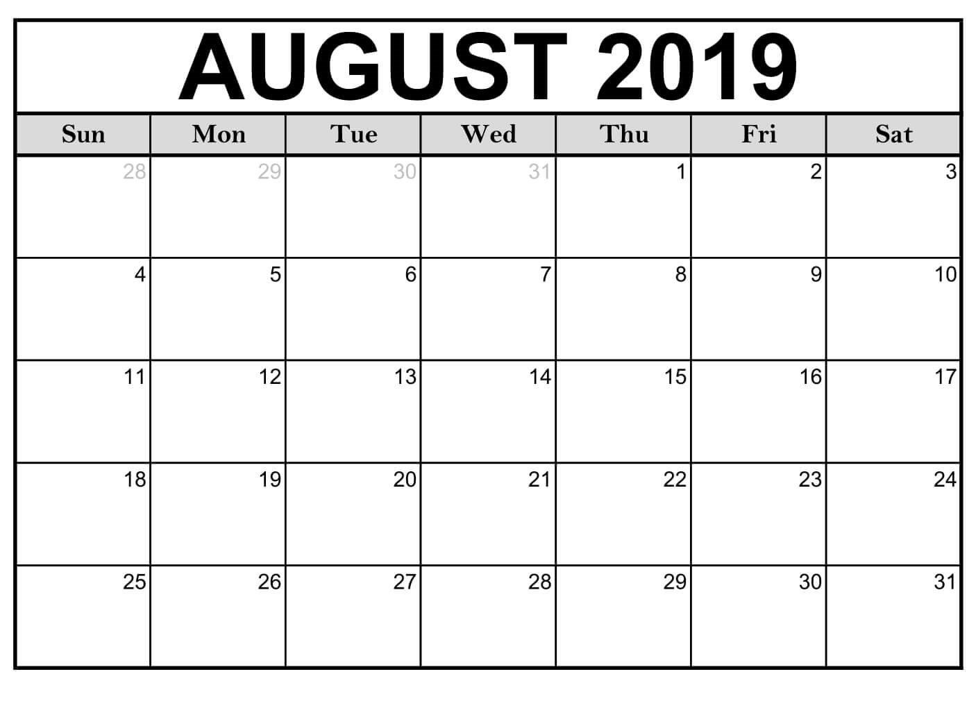 Blank August 2019 Calendar Page – Free Printable Calendar & Template August 1 2019 Calendar