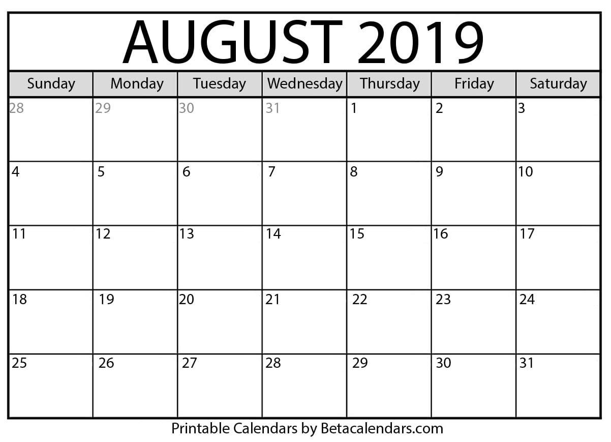 Blank August 2019 Calendar Printable – Beta Calendars Calendar 2019 August