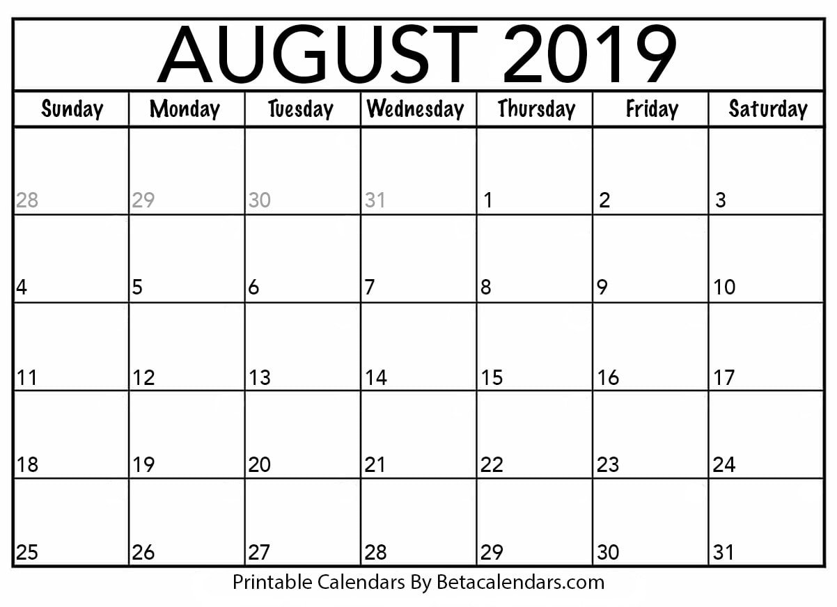 Blank August 2019 Calendar Printable – Beta Calendars U Michigan Calendar 2019