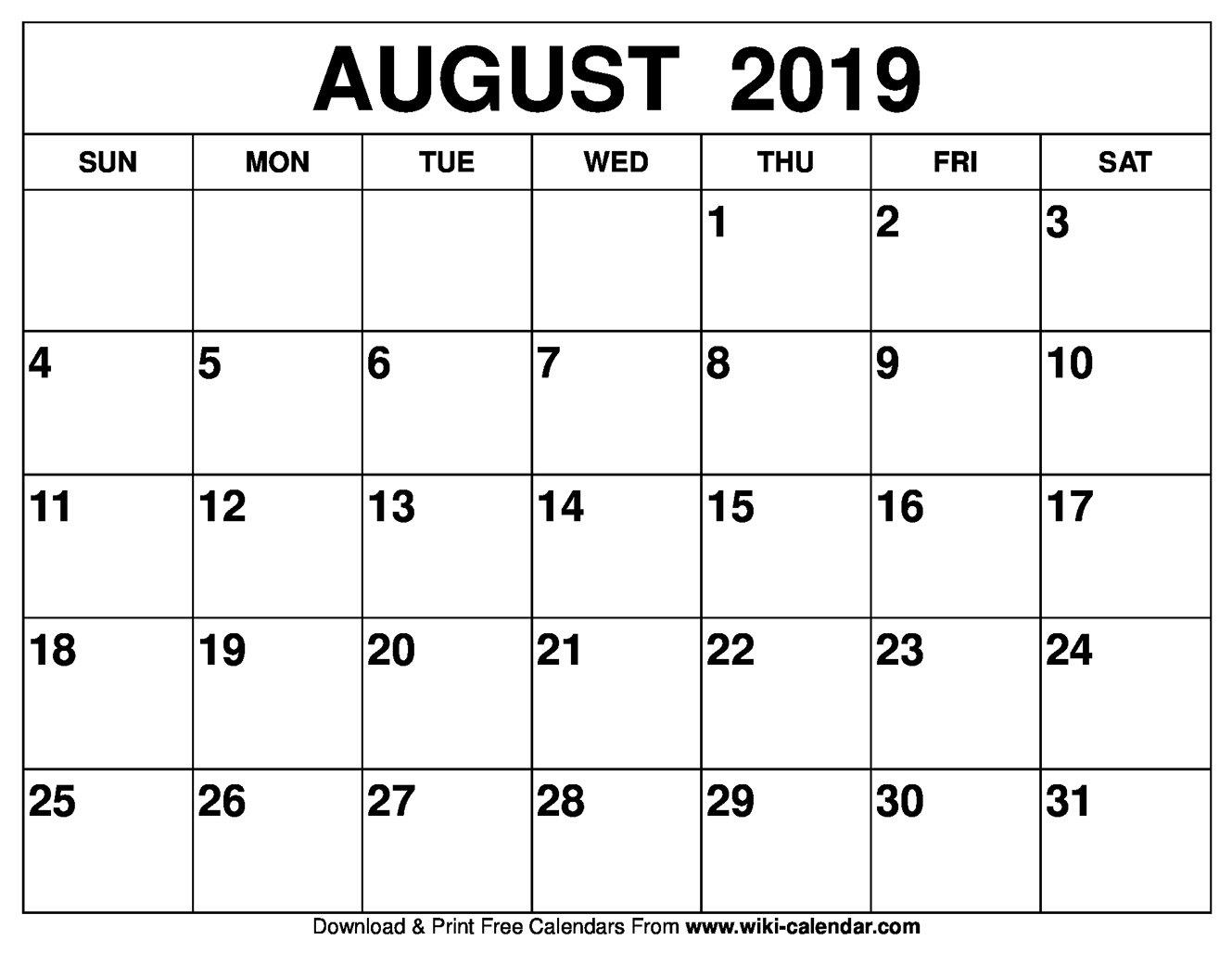 Blank August 2019 Calendar Printable Calendar 2019 August