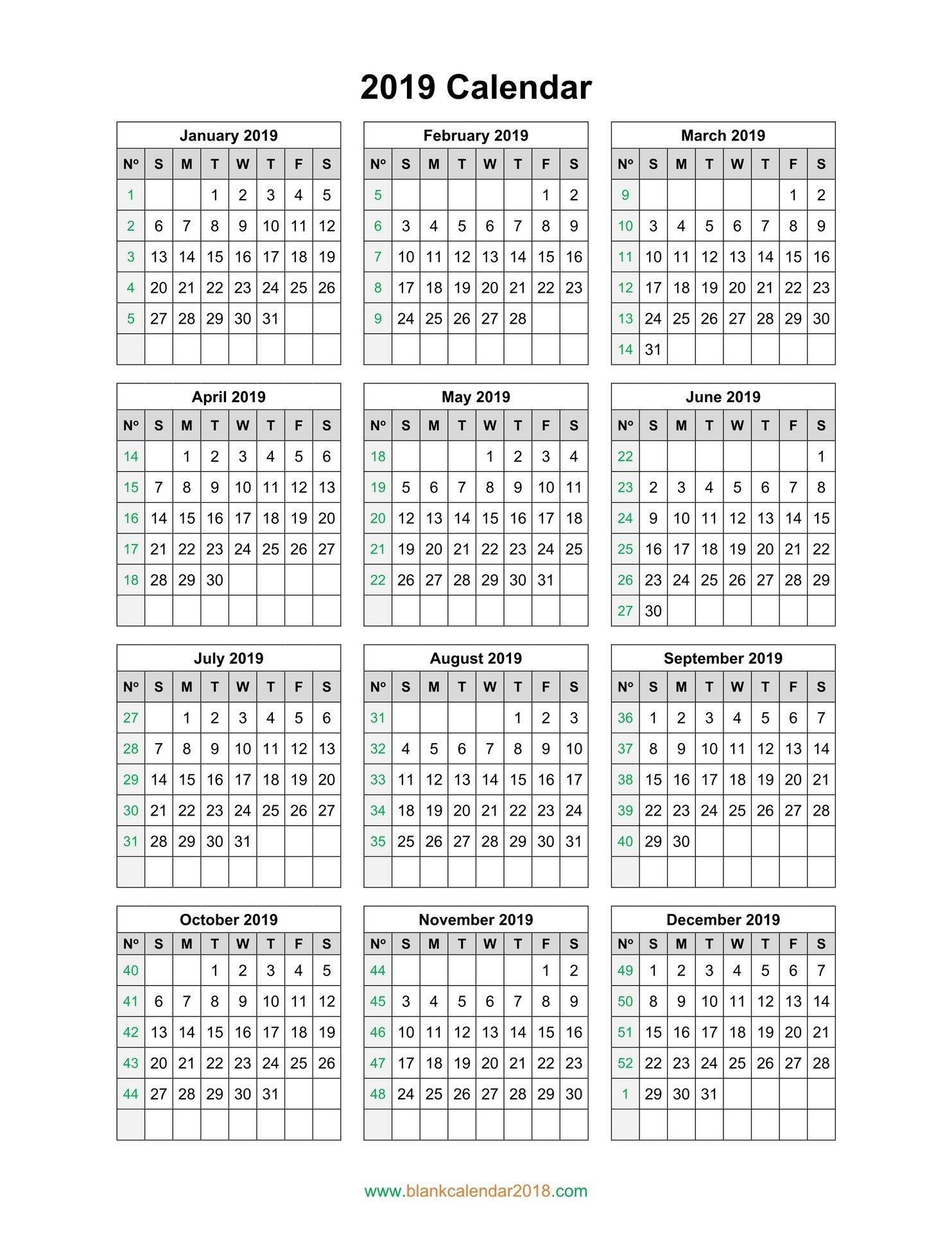 Blank Calendar 2019 Calendar 0F 2019