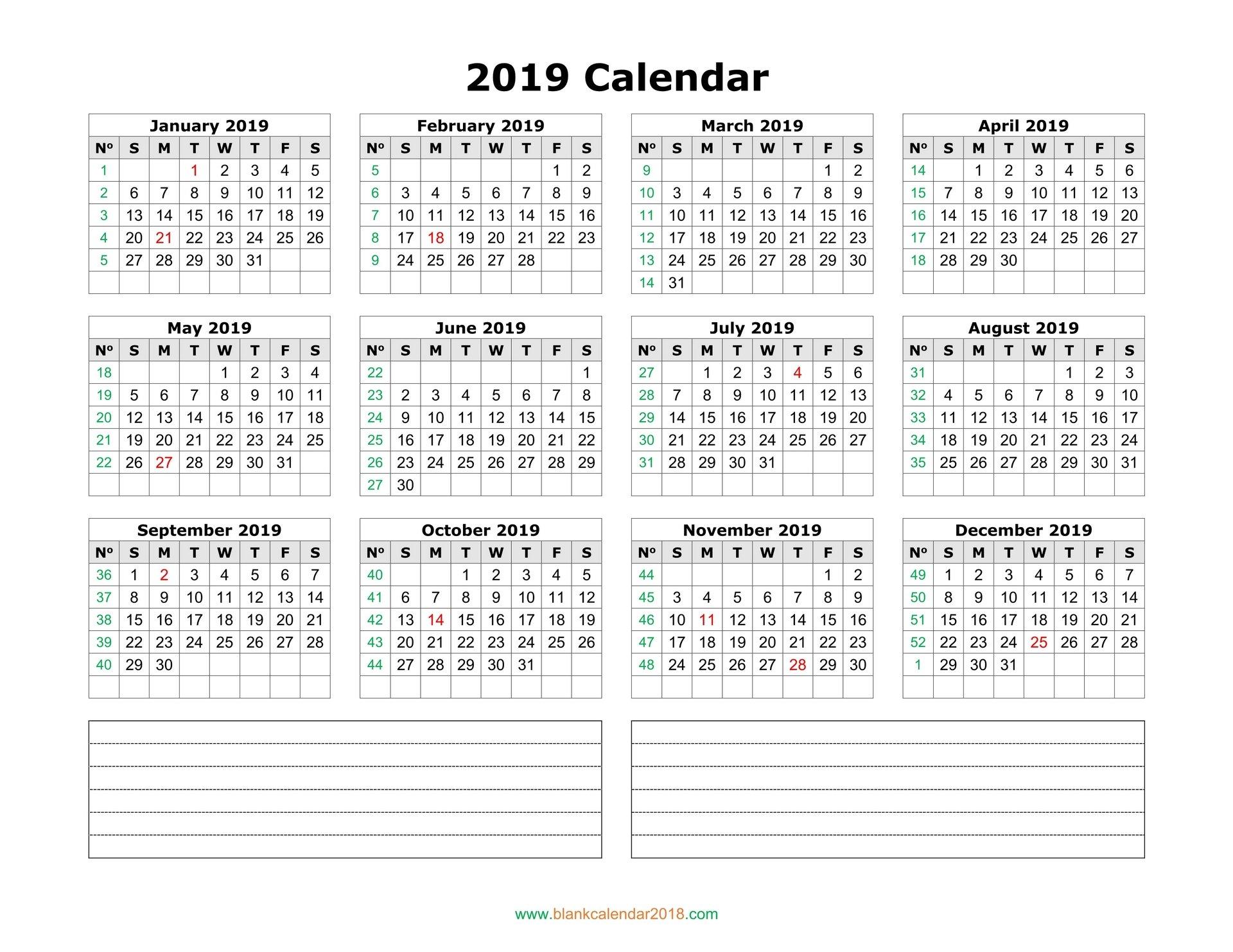 Blank Calendar 2019 Calendar 2019 Landscape