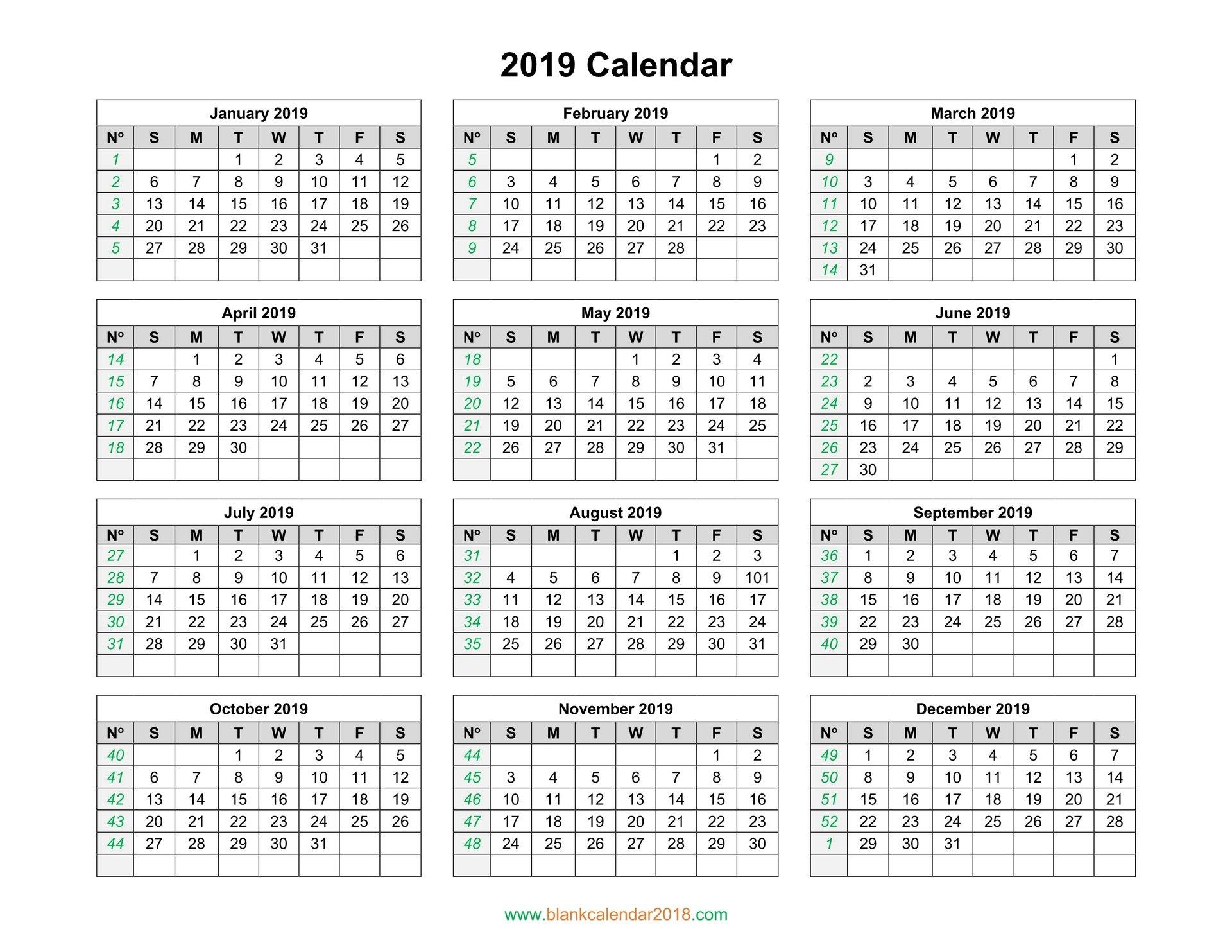 Blank Calendar 2019 Calendar 2019 Numbered Weeks