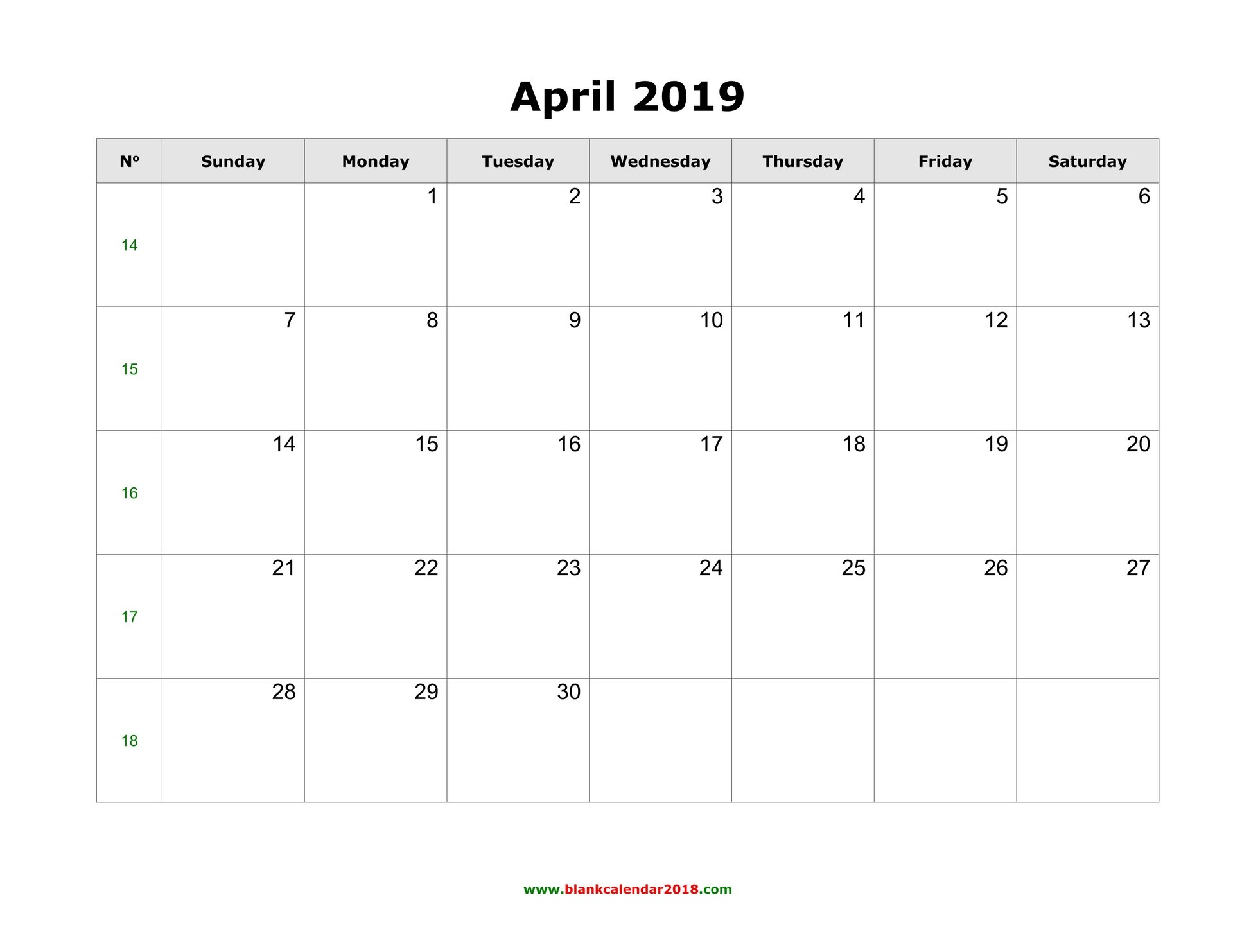 Blank Calendar For April 2019 Calendar Bulan 6 2019