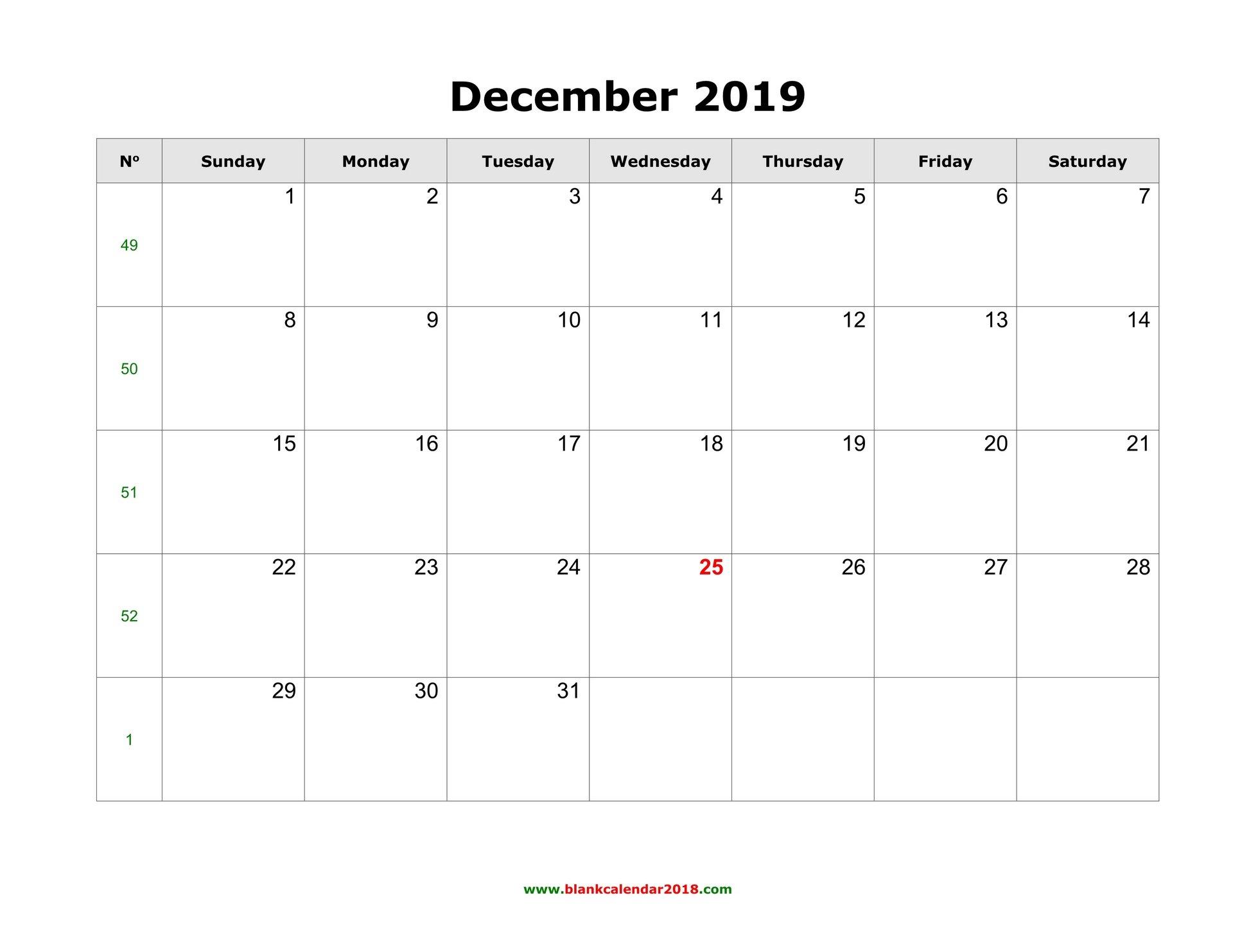 Blank Calendar For December 2019 Calendar 2019 December Printable