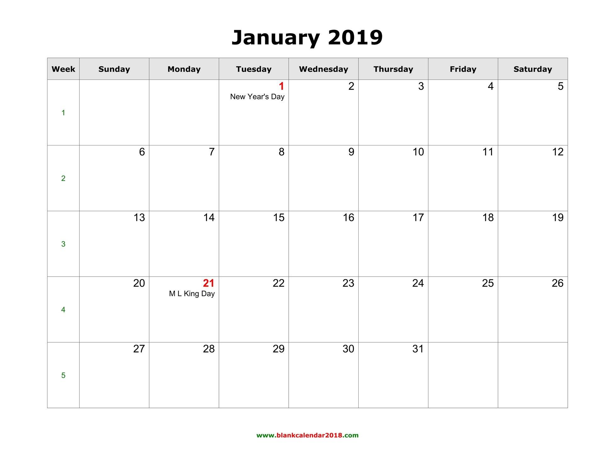 Blank Calendar For January 2019 Calendar 2019 January Template