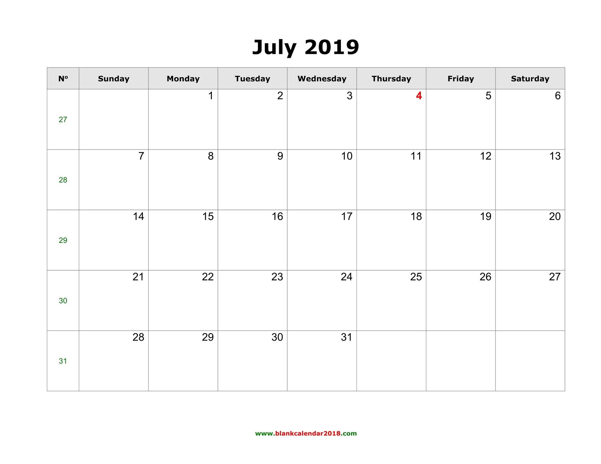 Blank Calendar For July 2019 Calendar 2019 July