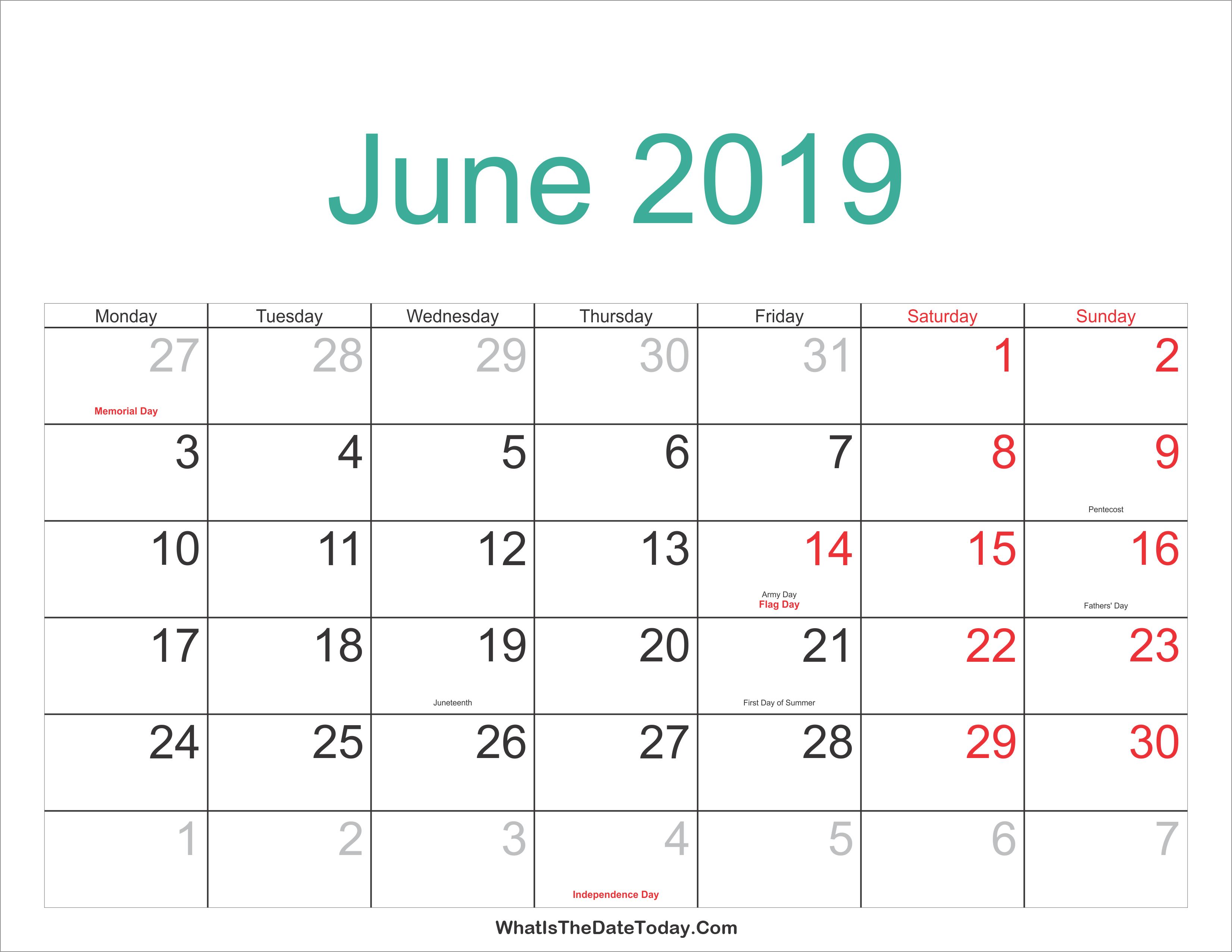 Blank Calendar For June 2019 Word – Printable Calendar 2019  Blank June 4 2019 Calendar