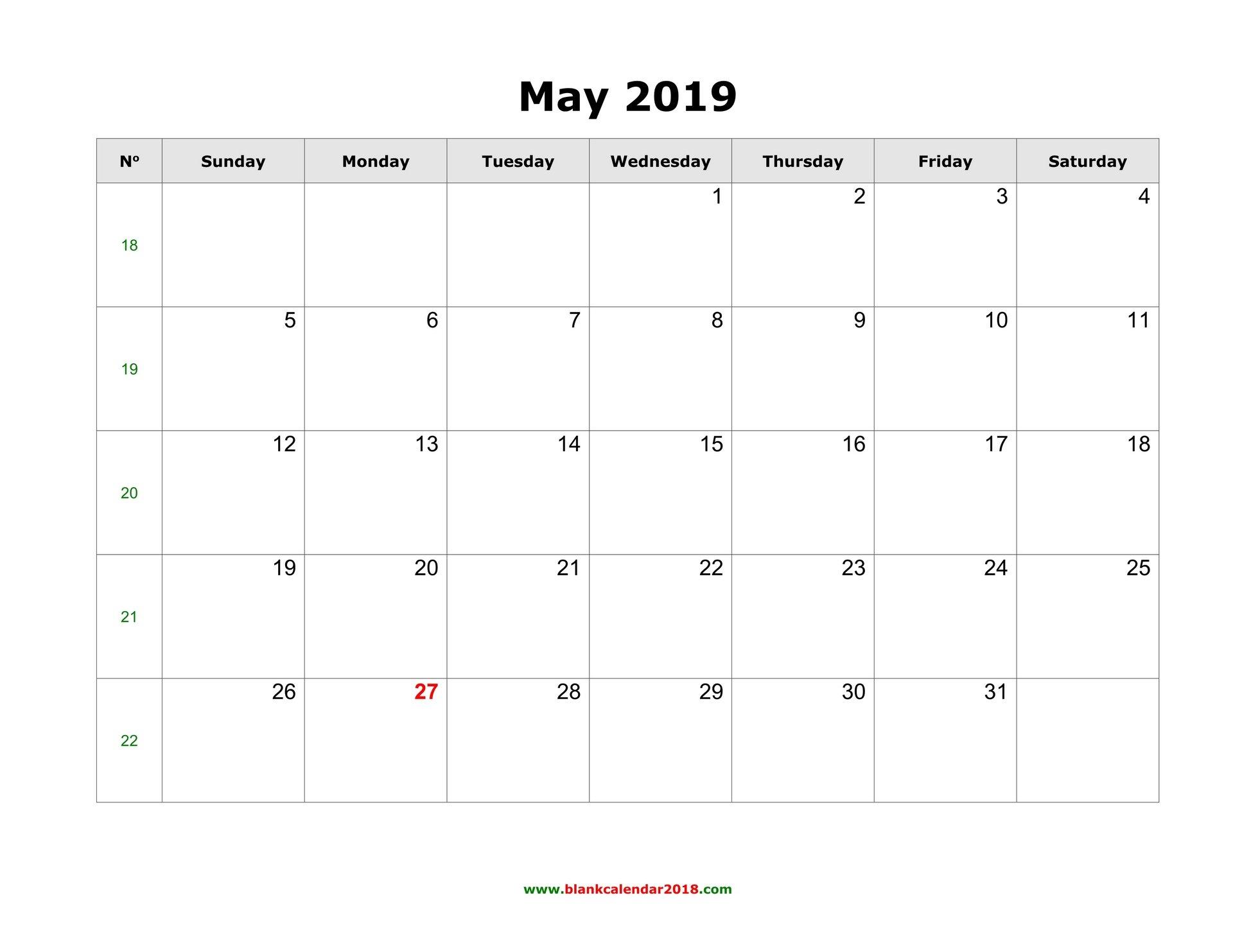 Blank Calendar For May 2019 Calendar 2019 Template Word
