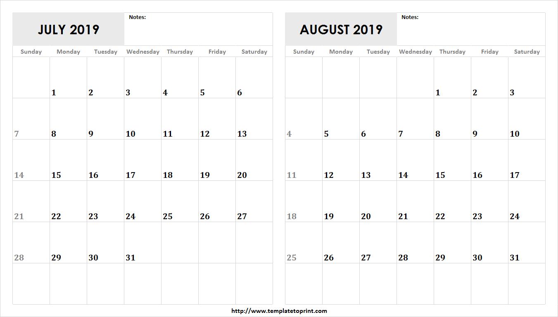 Blank July August 2019 Calendar Template | 2 Month Calendar Design Calendar 2019 July August