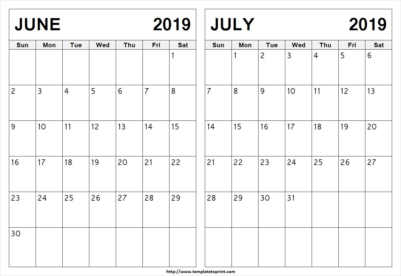 Blank June July 2019 Calendar Template | Latest 2 Month Calendar Design Calendar 2019 June July