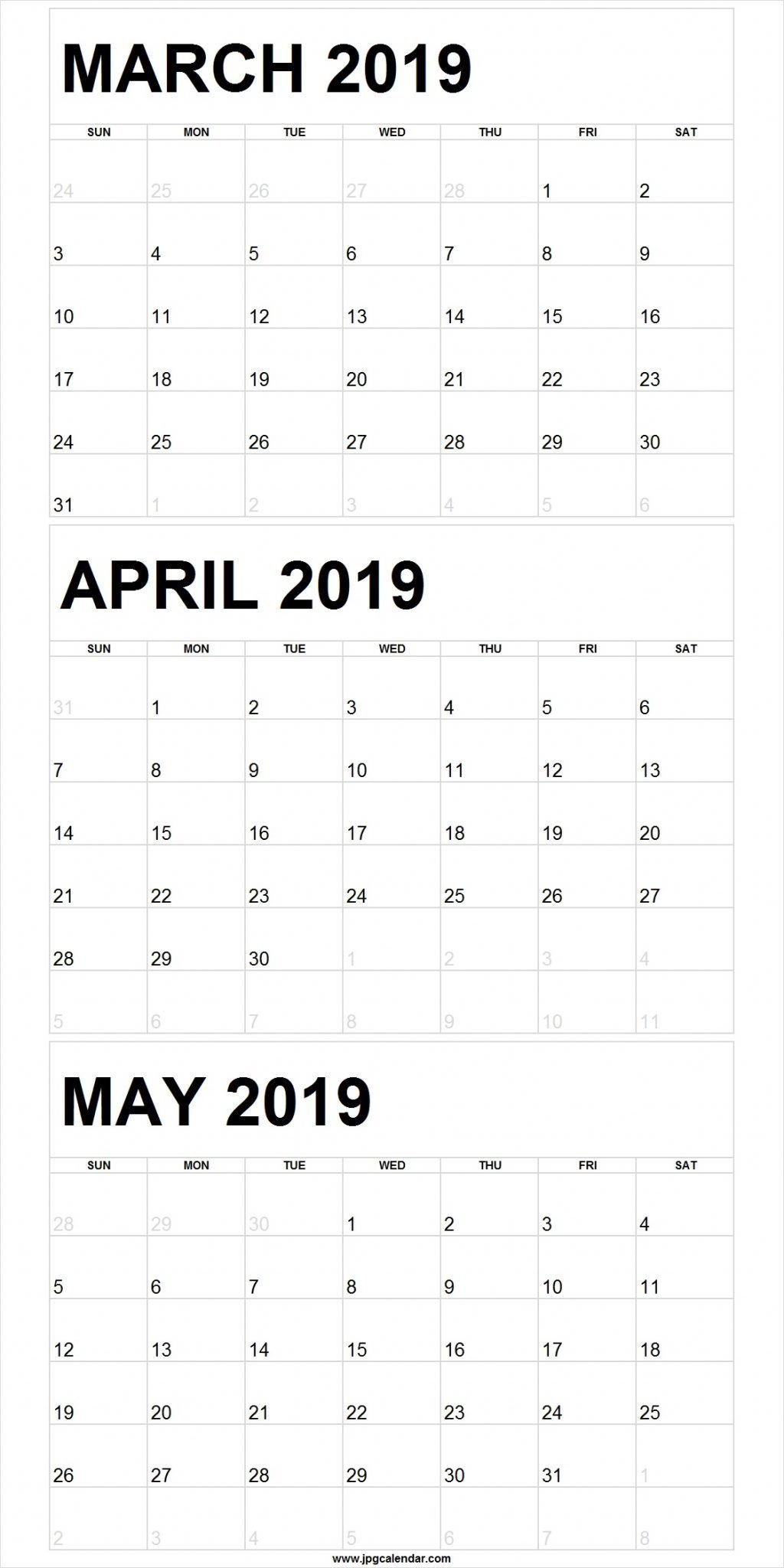 Blank March To May 2019 Calendar Printable | 250+ Free Monthly August 3 2019 Calendar