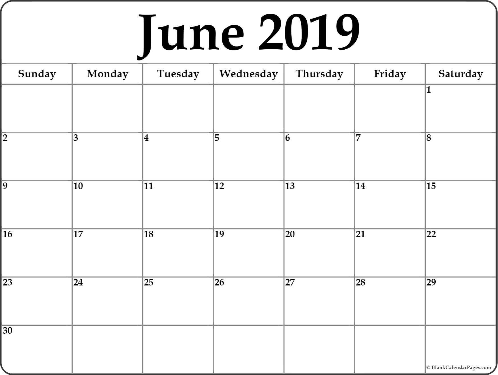 Blank Monthly Calendar June 2019 – Icard.cmi C Calendar 2019 Blank