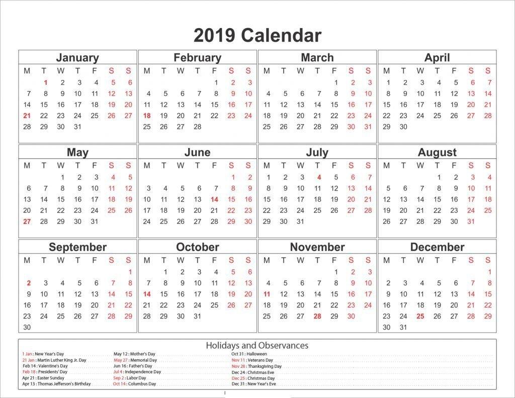 Blank One Page 2019 Printable Calendar | 2019 Calendars | Free Feb 7 2019 Calendar