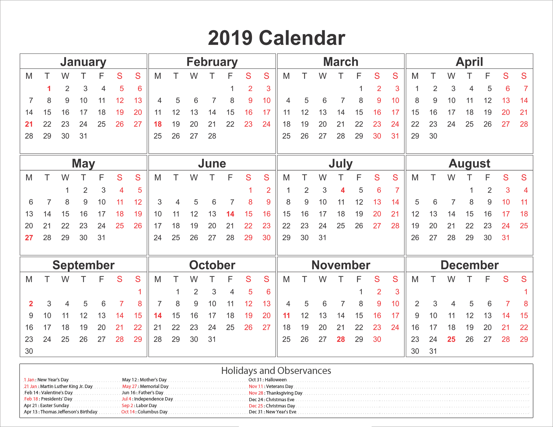 Blank Printable Calendar 2019 With Holidays | Printableshelter Calendar 2019 Printable Holidays