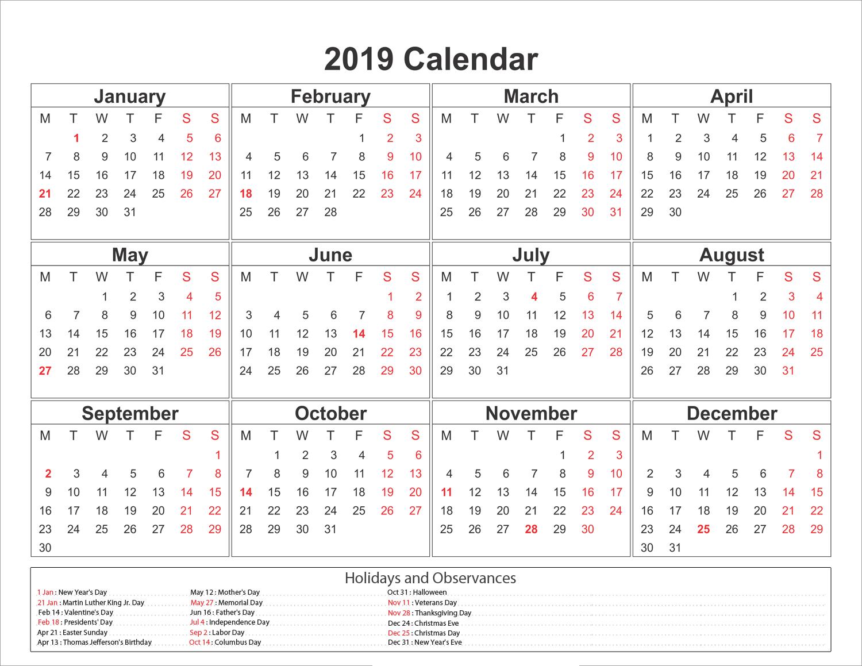 Blank Printable Calendar 2019 With Holidays   Printableshelter Calendar 2019 With Holidays Printable